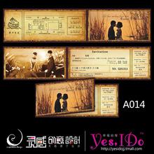 查看经典老船票结婚请柬欧式个性喜帖 2012创意婚礼韩式请帖 诺亚方舟