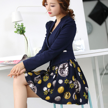 零五七一世家2017春装新款连衣裙韩版女装修身长袖两件套连衣裙