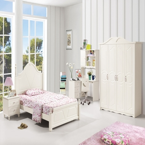 儿童王子床欧式床板式学院转角书桌儿童套房家具组合套装DFS7