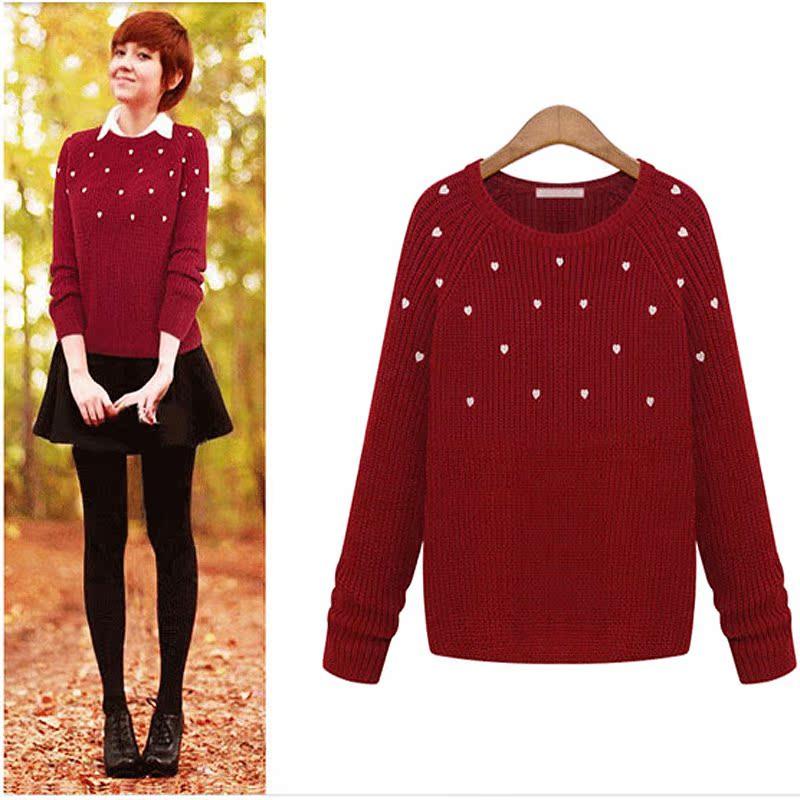 毛菇小象 满天星爱心时尚毛衣女 红色套头针织衫 秋冬圆领打底衫