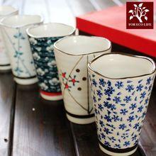 川岛屋 日式和风茶杯礼盒5个入 青花云祥陶瓷水杯子茶杯茶具套装