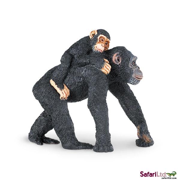 美国Safari正品【仿真动物模型 野生动物系列 黑猩猩母子】