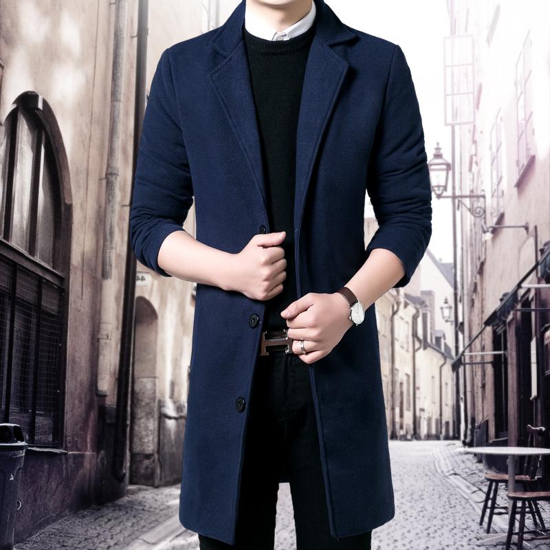 男士毛呢大衣冬季大码男装韩版修身呢子风衣中长款外套冬装潮青年