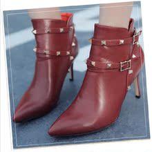 查看秋冬新款细跟短靴英伦 尖头柳钉裸靴潮女 欧美高跟铆钉真皮马丁靴