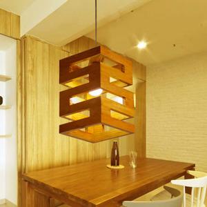高档LED吊灯木艺创意个性美式复古餐厅楼梯三角实木阁楼木屋灯具