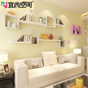 板置物架墙壁架书架壁挂柜木板层板电视墙创意格子价格:$500元-