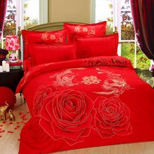 卢生梦全棉婚庆四件套 纯棉结婚床上用品 加厚磨毛 大红色龙凤
