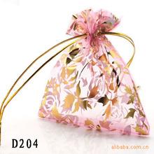 查看饰品批发 多色可选雪纺烫金纱袋 饰品包装  首饰束口袋子 TD204
