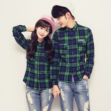 查看情侣装秋装2015森马学生韩版女装新款修身格子衬衫男女长袖衬衣棉