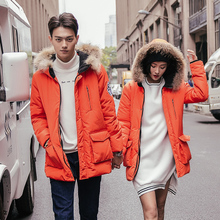 查看2015冬装新款韩版情侣装真毛毛领加厚标情侣棉衣棉服修身棉袄外套