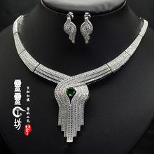 查看925纯银 晚宴婚礼首选高档首饰女套装 项链 耳环绿宝石项链女包邮