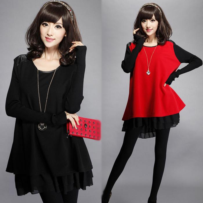 朵以2015秋冬新款韩版大码女装宽松显瘦打底衫中长款长袖连衣裙潮
