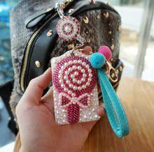 查看韩国新款 硬质双面亚克力公交卡套钥匙扣伸缩链挂绳 满钻棒棒糖
