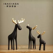 预售中 布莱克纯黑色金角麋鹿小鹿摆件 动物创意装饰工艺品摆设