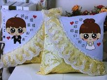 查看印花新款十字绣抱枕一对可爱情侣汽车枕头套客厅沙发靠垫卡通套件
