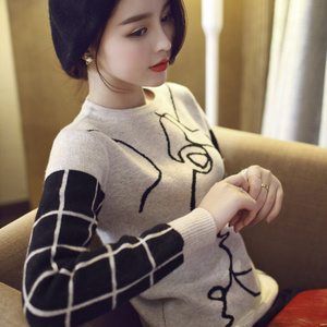 优帛良衣秋冬新款韩版短款毛衣打底宽松套头长袖圆领拼色针织衫潮