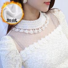 查看2015秋冬女装上衣加厚加绒高领小衫长袖钉珠镂空修身蕾丝打底衫潮