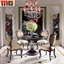 伊思帕欧式家具 100%纯实木带转盘圆餐桌 简美式餐厅饭台饭桌