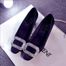 查看方扣水钻高跟鞋秋 粗跟单鞋浅口方头女鞋中跟新娘鞋 黑色工作鞋