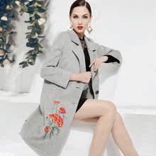 安素儿高端双面绒羊毛大衣女 2017新刺绣羊绒大衣中长款毛呢外套
