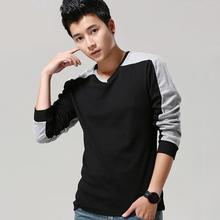 青少年秋季新款男士V领撞色长袖T恤男 韩版修身潮男打底衫上衣薄