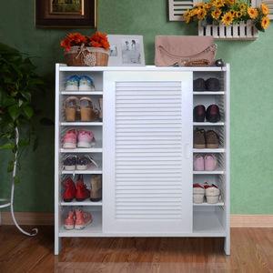特价 百叶式推拉门实木鞋柜 玄关柜透气组装家具大容量烤漆