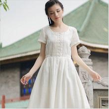 苏槿原创文艺棉麻女装 圆领短袖白色仙女刺绣大摆棉麻连衣裙
