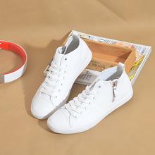 环球秋季PU皮面防水运动休闲男士板鞋简约高帮鞋侧拉链学生情侣鞋