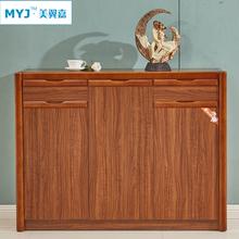 鞋柜 实木橡木简约现代玄关大容量双开门厅柜 烤漆超薄中式隔断柜