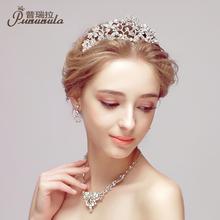 查看普瑞拉新款韩版新娘皇冠头饰结婚首饰婚纱礼服配饰三件套装发饰品