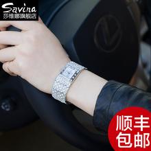 香港SAVINA品牌女表 潮流时装表时尚手镯表水钻品质手表女石英表