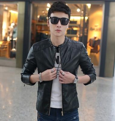 2015秋季夹克男韩版薄款外套 男士青年修身无领pu皮衣潮男皮夹克