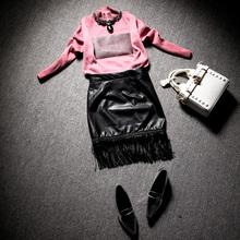 查看欧洲站2015冬装欧货秋装时尚套装潮气质包臀皮裙名媛两件套女2130