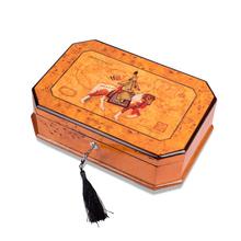 罗威高档艺术大师钢琴漆木制树瘤首饰盒 木质翡翠珠宝收纳收藏盒