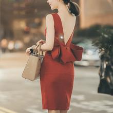 2017韩版名媛修身礼服裙 红色性感露背开叉包臀裙 连衣裙夏季女短
