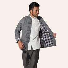 米尼也秋冬装汉服男士民族风棉麻连袖格子里上衣长袖唐装三色可选