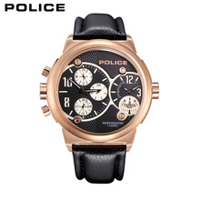 police手表男士皮带石英表男表大表盘多功能防水腕表商务皮带手表