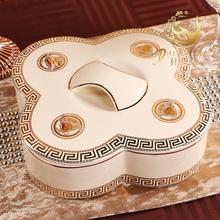 查看包邮欧式陶瓷干果盘干果盒分格带盖 客厅零食盒 婚庆水果盘糖果盒