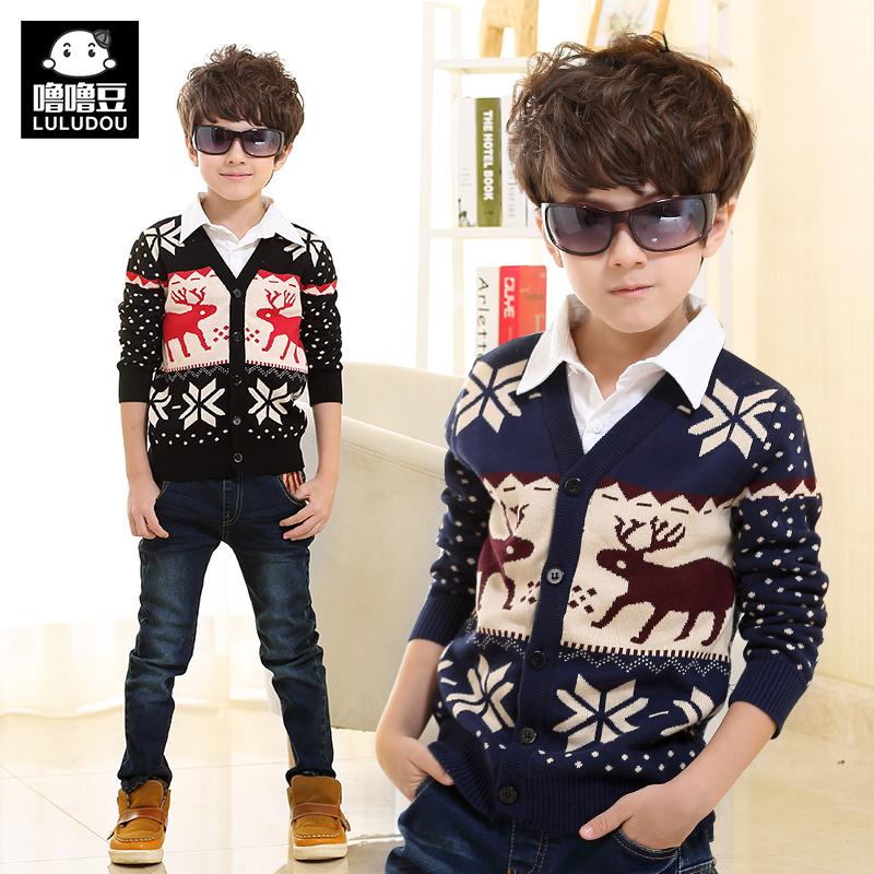 童装男童毛衣加厚外套冬装假两件针织衫宝宝儿童开衫中大童上衣潮