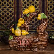陶瓷流水喷泉加湿器 家居桌面招财摆件 田园风水轮摆设五福临门
