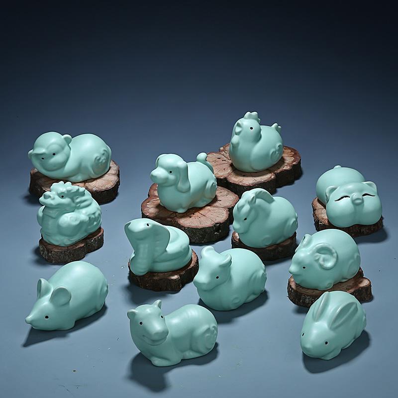 十二生肖鼠牛虎兔龙蛇马羊猴鸡狗猪12汝窑陶瓷小茶宠摆件 茶玩