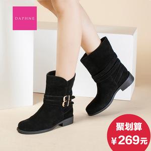 Daphne/达芙妮2015冬女靴 低跟圆头皮带扣绒面短筒靴子1015605072