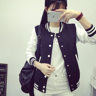 2015秋冬新款韩版中学生棒球服女外套大码女装加绒加厚情侣装卫衣
