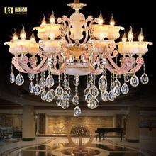 蓝湖欧式奢华锌合金大气玉石水晶吊灯客厅餐厅卧室别墅LED灯具饰