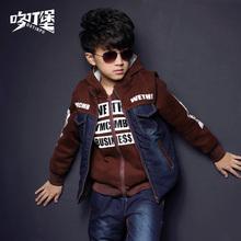 2017新款童装男童冬装加厚卡通套装儿童冬季休闲中大童带帽三件套