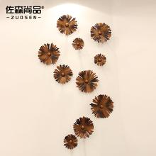 查看现在中式铁艺雏菊壁饰 创意家居饰品客厅装饰壁挂 墙上挂饰金属