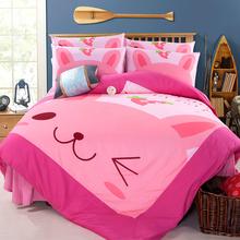 查看卡通床上四件套1.8米韩版磨毛床套被套四件套双人田园床笠款加厚