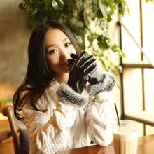 兔毛PU手套 女 冬 可爱 全指 恋人 加厚保暖 电瓶车 女士绒质手套