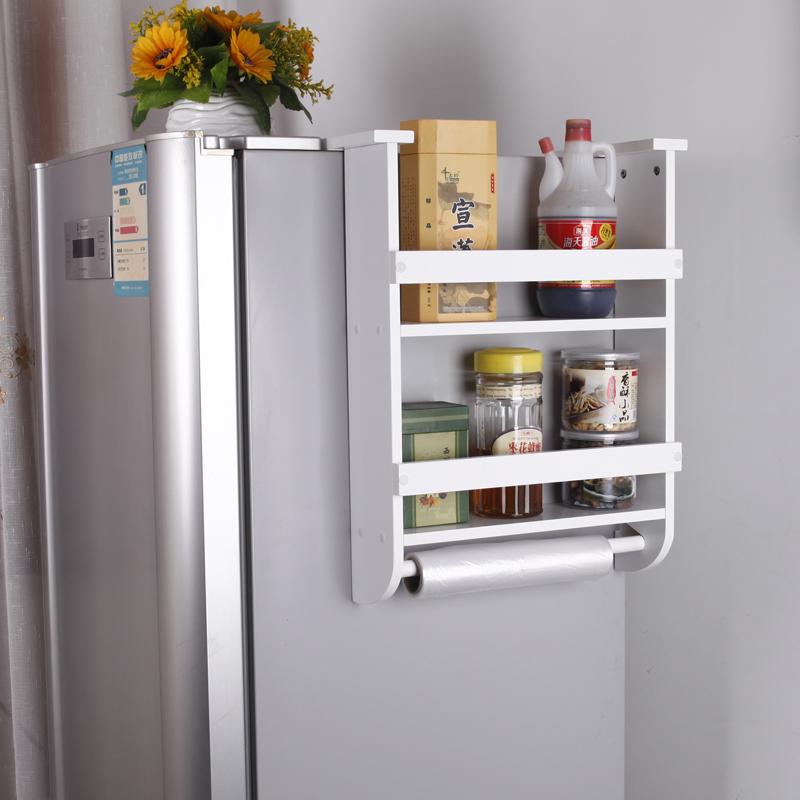 四季杜鹃花 厨房置物架冰箱侧挂架调味品收纳架 大容量冰箱收纳