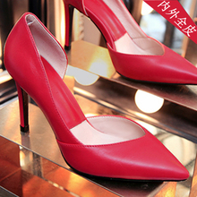 查看冬新款红色婚鞋新娘鞋真皮尖头高跟鞋细跟性感夜店浅口中跟女单鞋